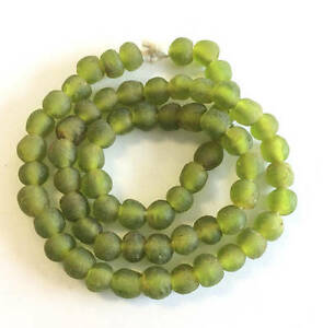 Olive-African-Ghana-Krobo-recycled-Glass-trade-Beads