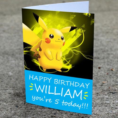 Pokemon Pikachu personnalisée CARTE D/'ANNIVERSAIREFils Fille Filles Garçons Tout Nom