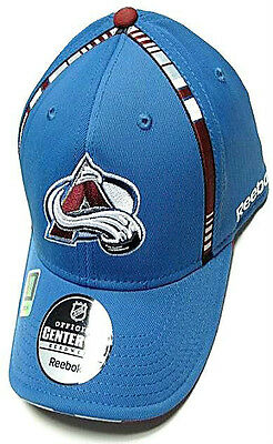 Colorado Avalanche NHL Reebok Blue Center Ice Hat Cap Stripe Flex Fitted L/XL