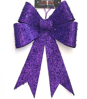 Big Bow Dark Purple Glitter Christmas Wreath Decoration ...