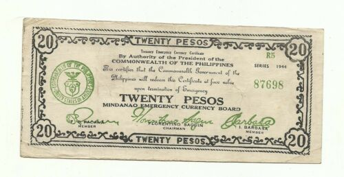 Philippines Emergency Currency Mindanao 20 Pesos - # 091730