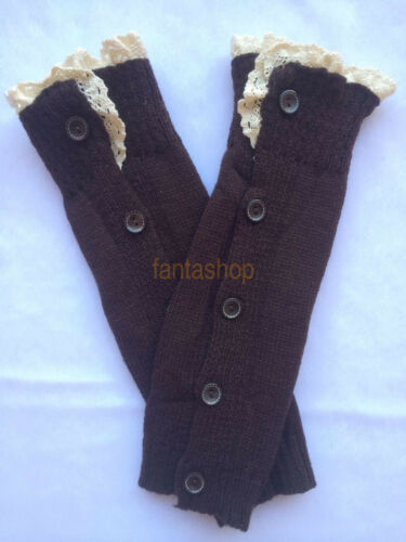 Kids Girls Button Knitted Boot Socks Crochet Lace Cuffs Leg Warmer Sock Cover