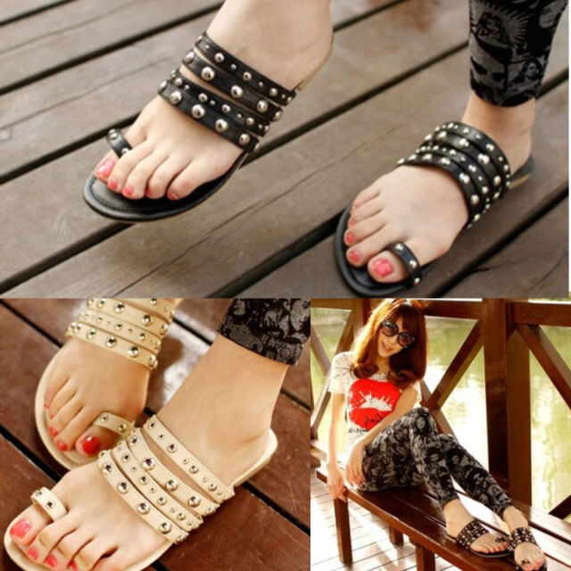 Flip rivet flat gladiator style flat casual drag women's  female shoes sandals
