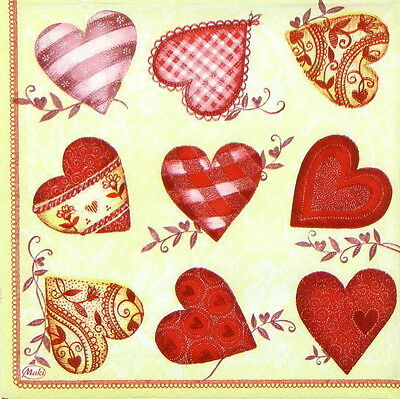 4x Vintage Red Hearts Paper Napkins for Party, Decoupage Craft
