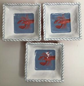 Tommy-Bahama-Melamine-Dishes-Set-Lot-of-3-Lobster-Square-Bowl-EUC-Blue-Outdoor