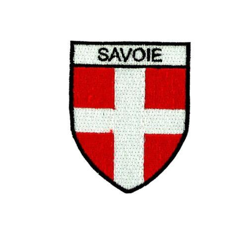 Flag patch shield souvenir iron sew badge backpack ski savoie savoy france