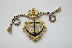 Anchor patch iron on embroidered navy blue and gold nautical