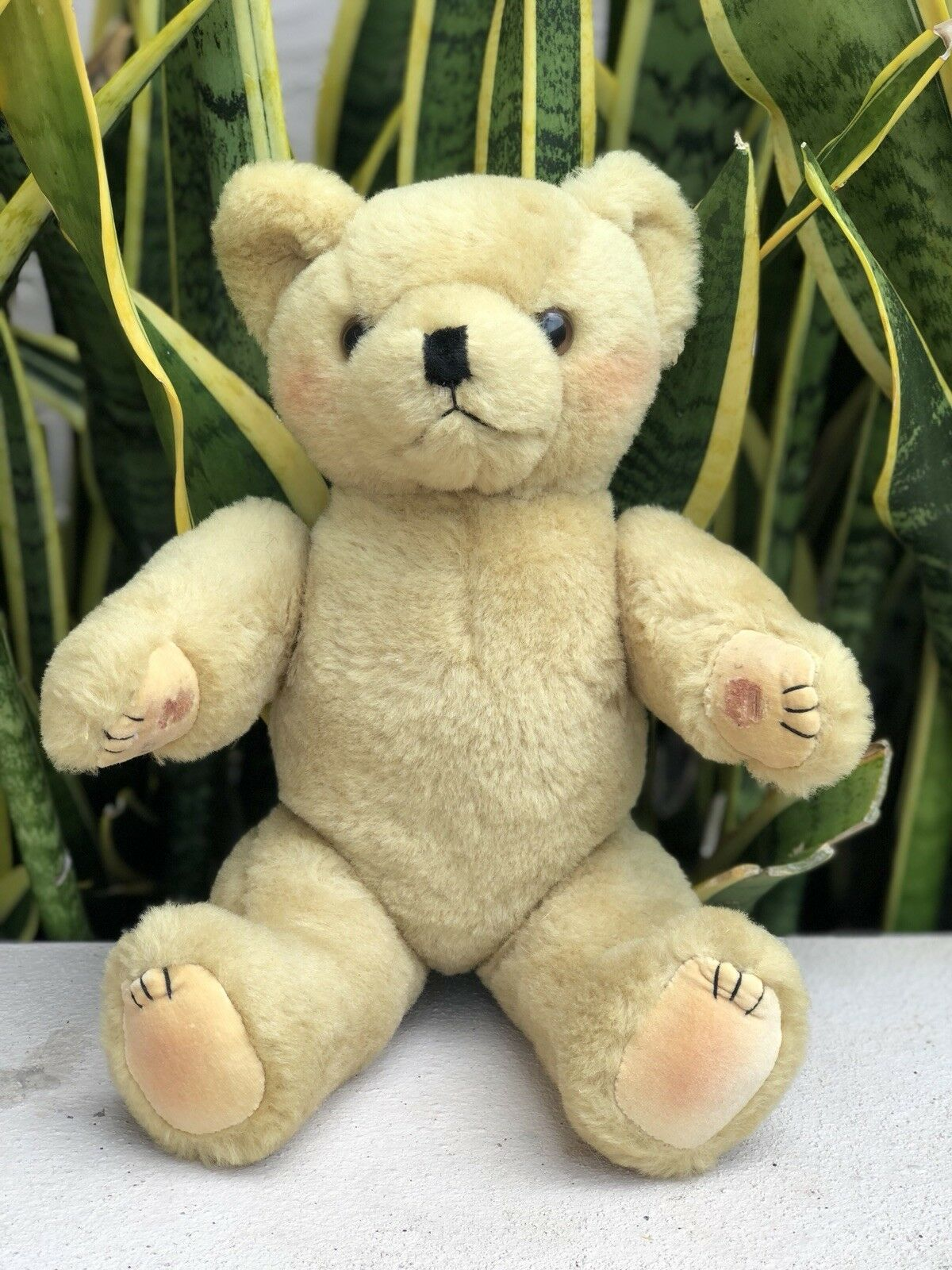 Vintage 50s 60s Blonde Light Brown Teddy Bear Jointed Stuffed Animal Plush Toy