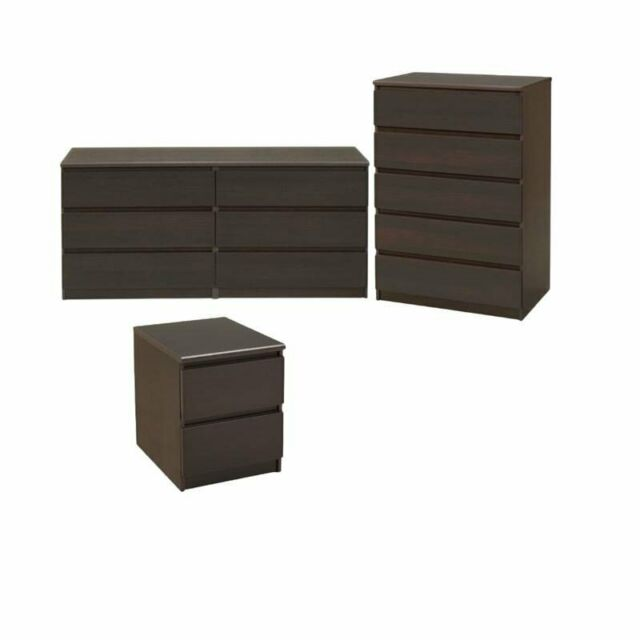 Three Piece Dresser Set Bedroom Furniture Nightstand 5and 3 Drawers Chest Coffee For Sale Online Ebay
