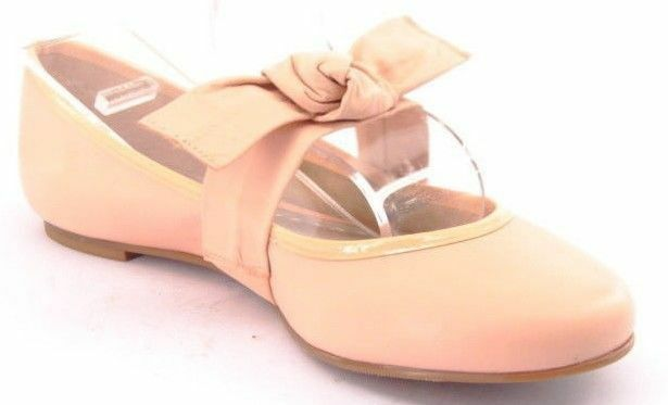 New BCBGirls Women Beige Leather Bow Ballet Ballet Ballet Flat Slip On Mary Jane shoes Sz 9 M 6e6fea
