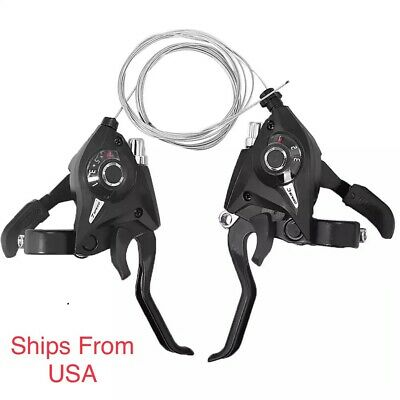3 x 7//8 21//24 Speed Bicycle Shifters Bike Left Right Brake Lever Shifter Set US