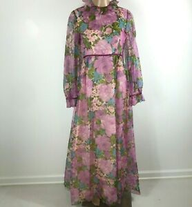 Vintage-60s-Prairie-Dress-Lorrie-Deb-Size-S-Small-Floral-Hippy-Boho-Cottagecore