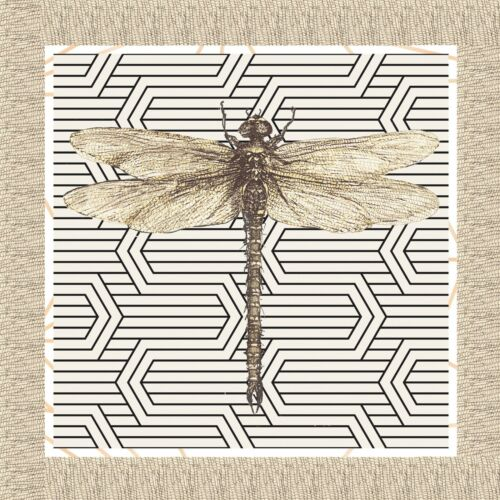 4 Lunch Paper Napkins for Decoupage Party Table Craft Vintage Beige Dragonfly