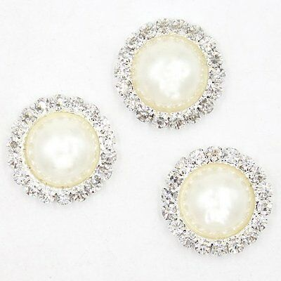 50x Silvery Round Rhinestone Pearl Charms Alloy Embellishment Findings Lots BS