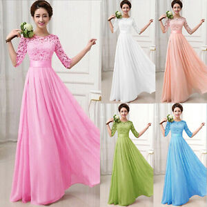 Cheap wedding dress lace evening formal prom long for Cheap wedding dresses ebay