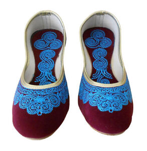 Women-Shoes-Indian-Handmade-Jutties-Ballerinas-Maroon-Mojari-UK-2-5-7-5-EU-35-42