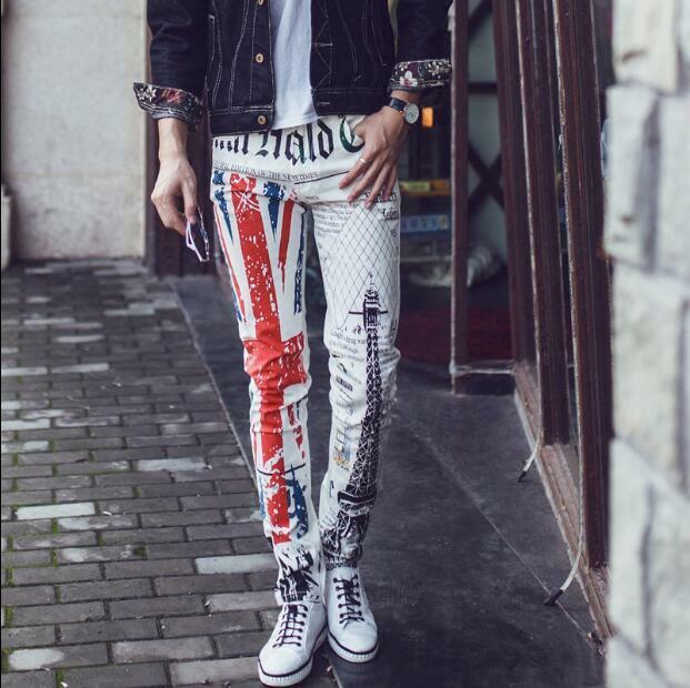 Mens Casual Tapered Slim Fit Straight Leg Trousers Painting Floral Plus Sz Pants
