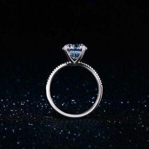 Echt-925-Silber-Ring-3-Karat-Zirkonia-Diamant-Hochzeit-Damen-edlen-Schmuck-Trend