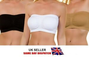 f10873945bac7 Image is loading 3-Pack-Women-Ladies-Strapless-Seamless-Bandeau-Bra-