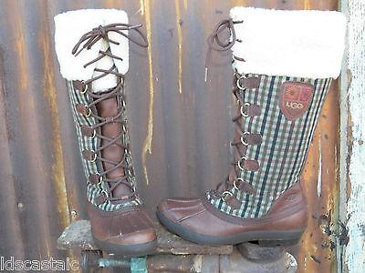NEW Womens UGG Edmonton ALL SIZES Chocolate/Plaid Leather ...