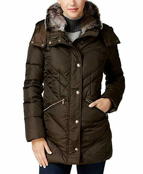 BNWTS London Fog Faux-Fur-Trim Hooded Puffer Coat, MOSS SMALL