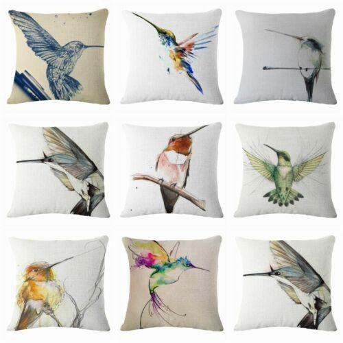 "Graffiti  Bird Print Cotton Linen Square Sofa Case Pillow Cushion Waist Cover18/"""