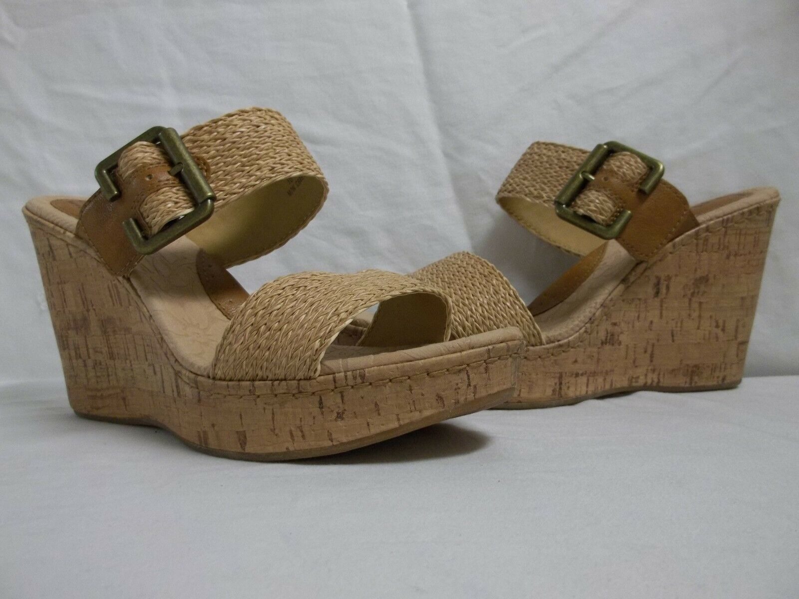 Born Size 10 M Taria Tan Slides Wedges Sandals New Womens shoes NWOB