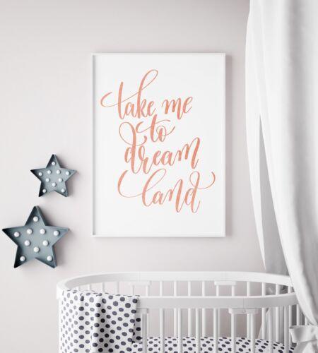 Take Me To Dream Land Peach Watercolour Nursery Print Kids Wall Art Picture Gift
