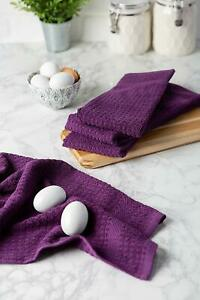 Details About Set Of 4 Eggplant Purple Waffle Box Pattern Absorbant Kitchen Hand Dish Towels