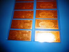 24 KARAT 99.9% GOLD U.S.A $ 20 DOLLAR BILL- 2009 -COMES IN RIGID PVC BILL HOLDER