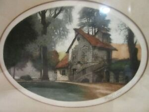 Original-Framed-Print-Painting-House-in-Woods-Signed-Fred-Levi