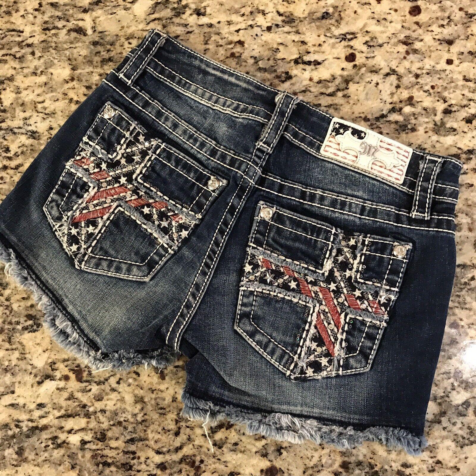 NWT Miss Me cut off Jean Denim shorts Size 25 Originally  89 Patriotic Cross