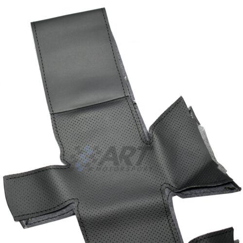 perforado Funda de volante de 4 radios para Audi Q5 Q7 en cuero negro liso