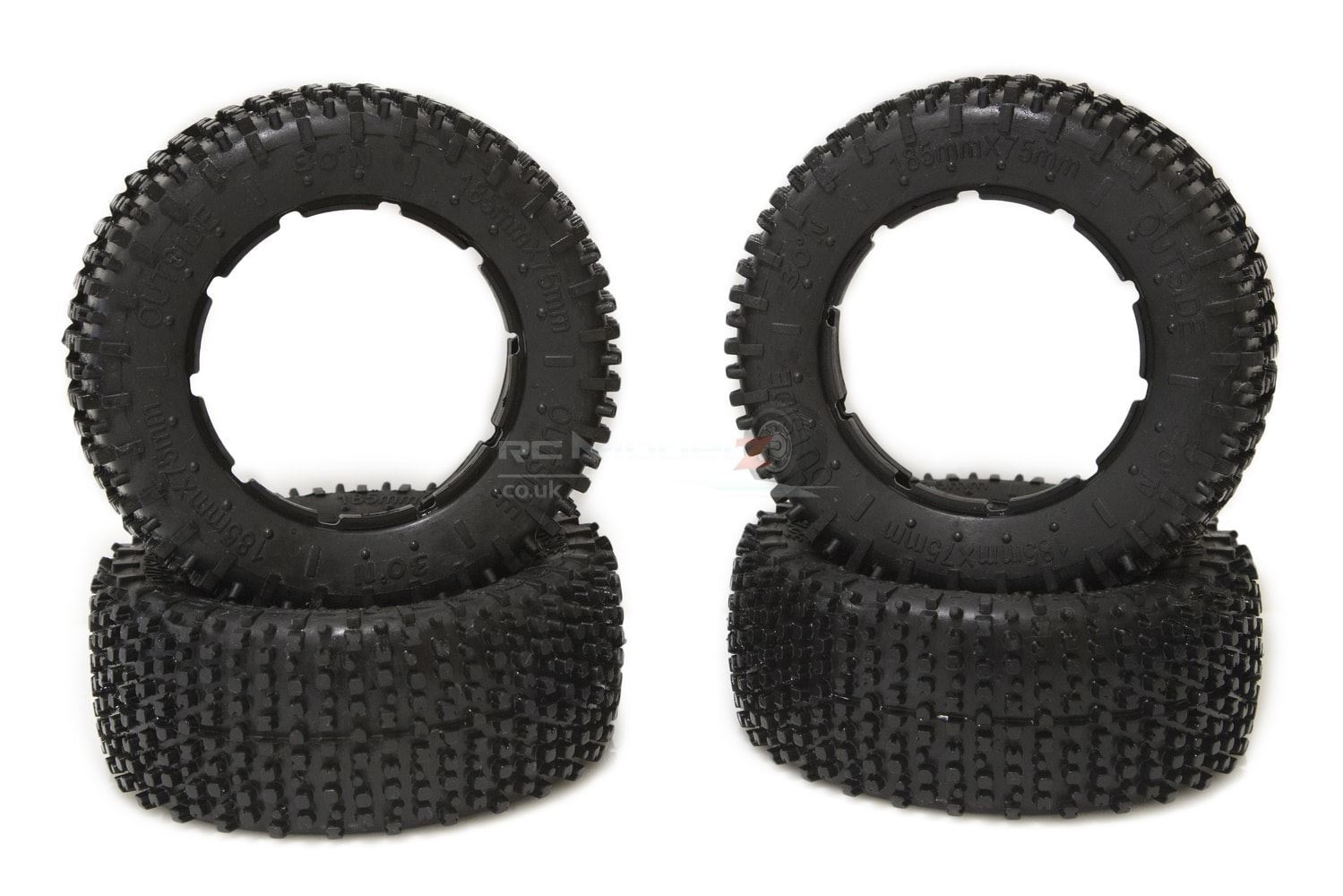 30 Degree North 'Signature' Mini-Pin Tyre Set for KMX2, Losi 5ive-T (185x75mm)
