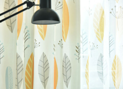 Nordic Semi-Shading Cloth Curtain Simple Brief  Leaf Printed Sheer Tulle 1 Piece
