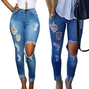 New Womens High Rise Stretchy Blue White Knee Cut Skinny Denim Cropped Jeans