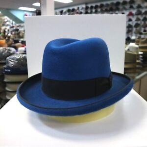 815ce4298c827 BORSALINO OCEAN BLUE LONG HAIR FUR FELT HOMBURG DRESS HAT  READ ...