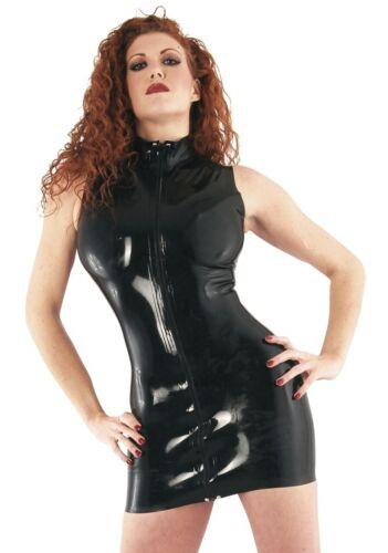 Zip Front Black Latex Dress