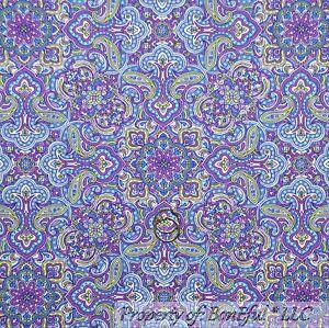 Boneful Fabric Fq Cotton Quilt Purple Blue Green White Flower Damask