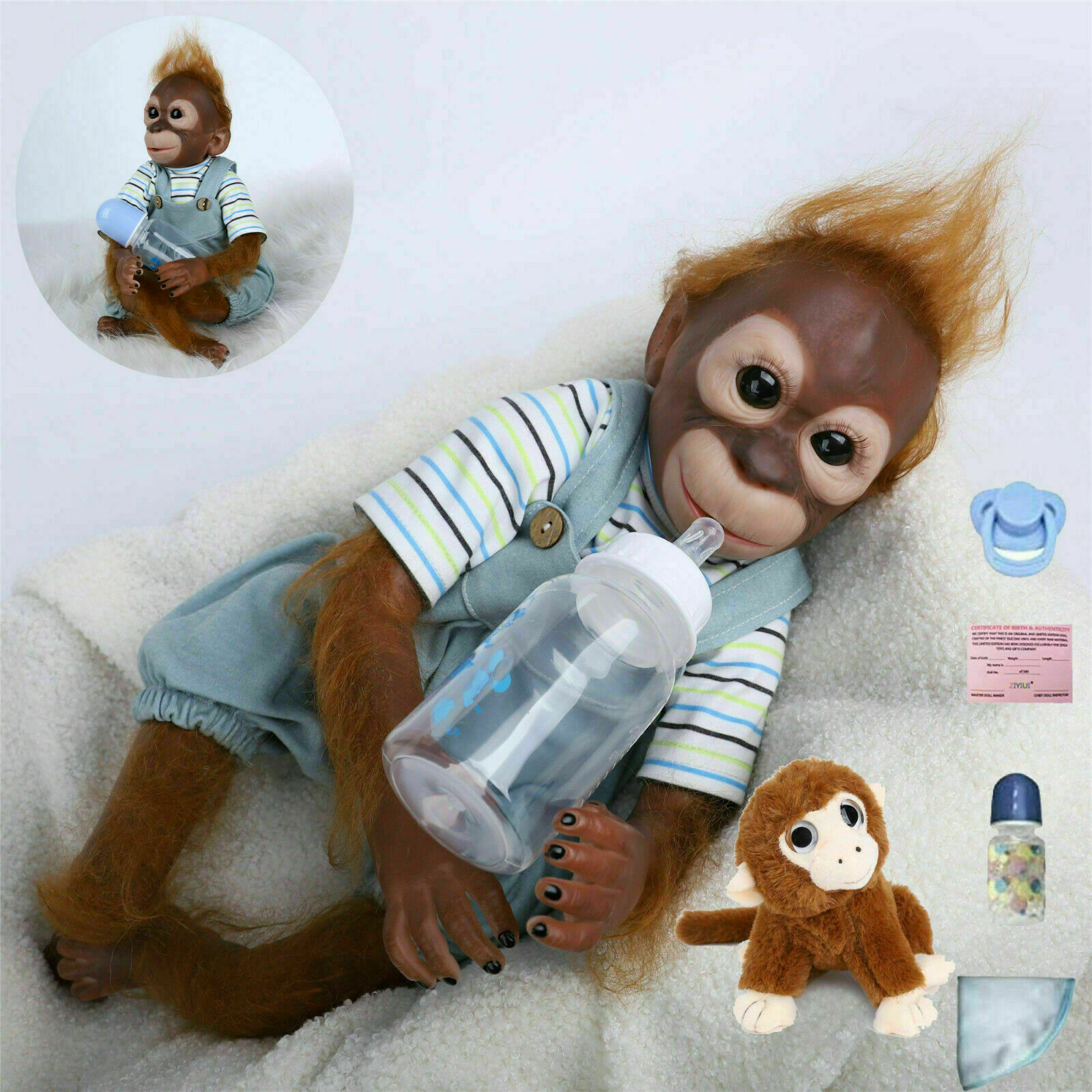 """20"""" Reborn Baby Monkey Handmade Newborn Vinyl Silicone Doll Gift Toys UK"""