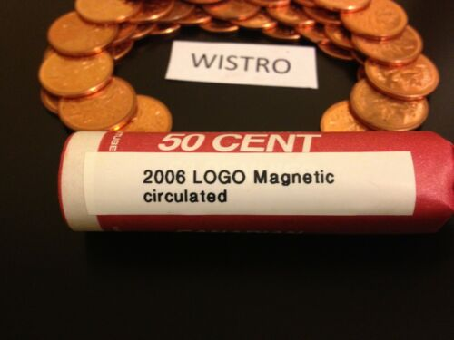 low mintage ^^ 2006 LOGO Magnetic ^^ Solid Date Roll circulated Canada Pennies