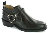 Mancini Mav 5. Men's Black Ankle Height Boots With Strap And Ring Detail.