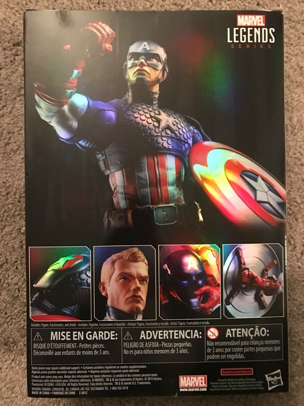 TOY    CAPTAIN AMERICA DOLL WITH SHIELD   Limited Edition Rainbow Writing On Box. c2e081