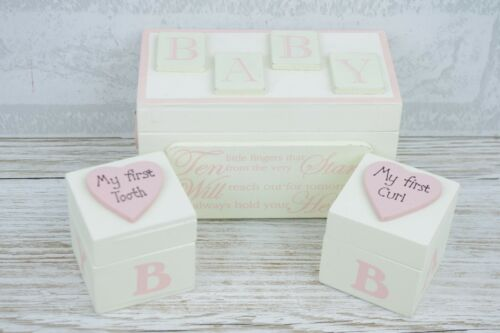 Pink Tooth and Curl Wooden Box Baby Girl Gift Christening Nursery Decor F0824A