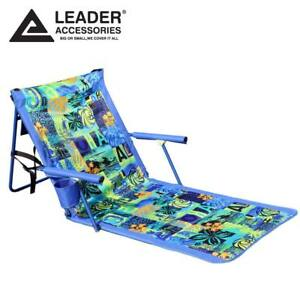 Image Is Loading Deluxe Portable Reclining Lounger Beach Chair Sporting Blue