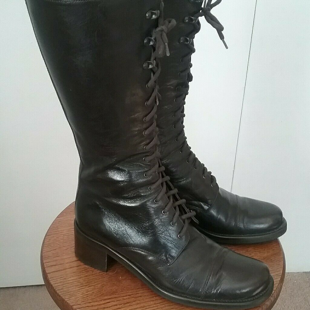 Kenneth Cole Boots Womens Chocolate Brown Leather  Combat lace up boots