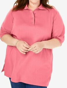 Woman Within Womens Plus Size Elbow-Sleeve Tunic Polo Shirt
