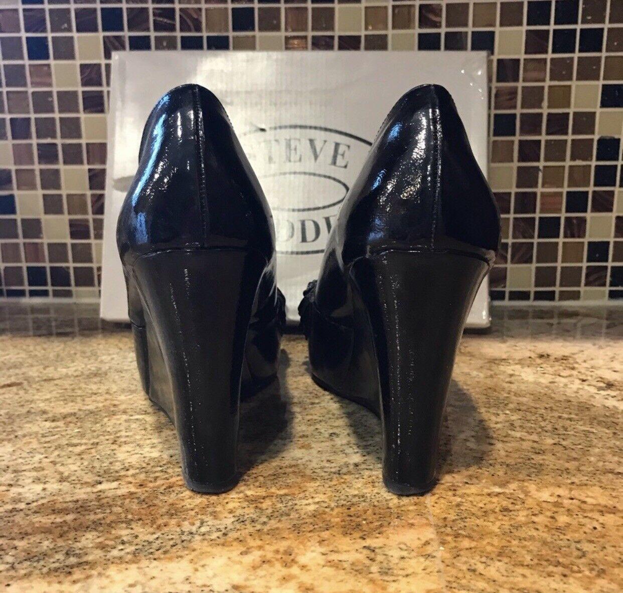 Steve Steve Steve Madden Black Size 9 Ruffled Peep Toe Wedge 66fd9f