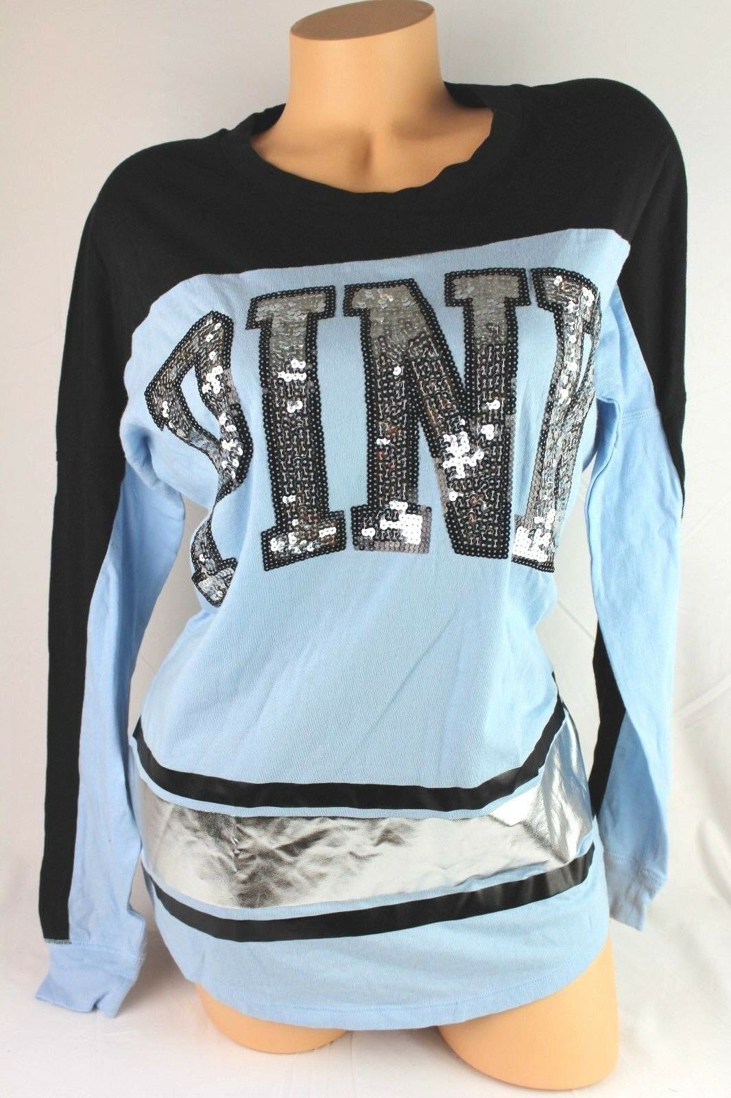 VICTORIA'S SECRET Rosa BLING FOOTBALL TEE LONG SLEEVE NEW A40