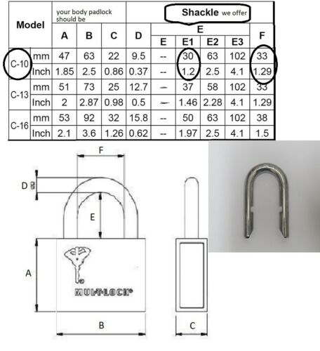 Mul-T-Lock Removable Shackle All Size C10 C13 C16 Hardened For C Series Padlocks